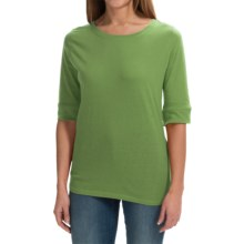 Greetings From Cotton T-Shirt - 3/4 Sleeve (For Women) in Green - Closeouts