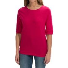 Greetings From Cotton T-Shirt - 3/4 Sleeve (For Women) in Raspberry - Closeouts