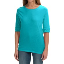 Greetings From Cotton T-Shirt - 3/4 Sleeve (For Women) in Turquoise - Closeouts