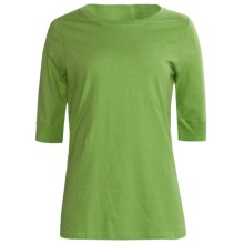 Greetings From Cotton T-Shirt - Elbow Sleeve (For Women) in Green - Closeouts