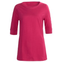 Greetings From Cotton T-Shirt - Elbow Sleeve (For Women) in Raspberry - Closeouts