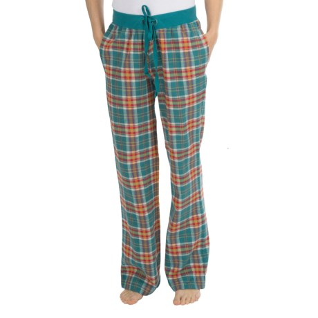 Greetings From Drawstring Woven Pants (For Women) in Orange/Teal Plaid