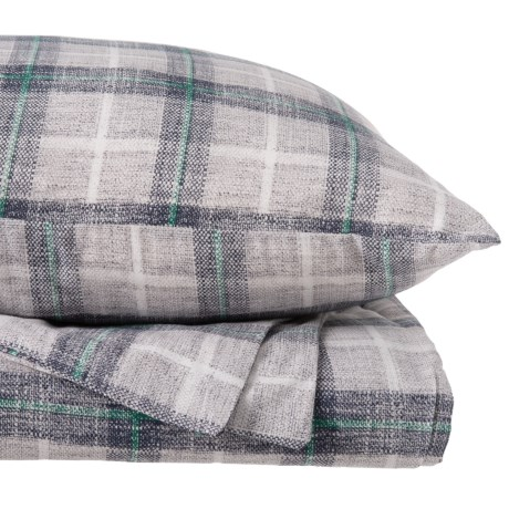 Image of Grey Plaid Aberdeen Napped Cotton Duvet Set - King
