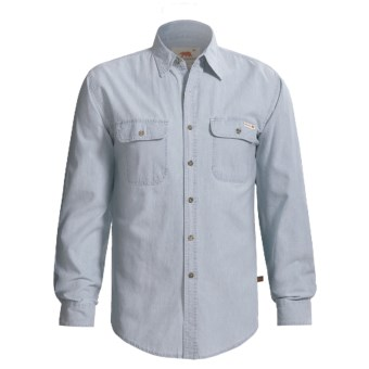 Grizzly Chambray Shirt - Long Sleeve (For Tall Men) in Chambray