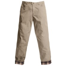 Grizzly Dax Flannel-Lined Canvas Pants (For Men) in Khaki W Red/Black Plaid - Closeouts