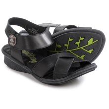 Groundhog Snap Criss-Cross Sandals - Leather (For Women) in Black - Closeouts
