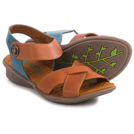 Groundhog Snap Criss-Cross Sandals - Leather (For Women) in Orange/Cielo - Closeouts