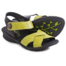 Groundhog Snap Criss-Cross Sandals - Leather (For Women) in Pistachio/Black - Closeouts