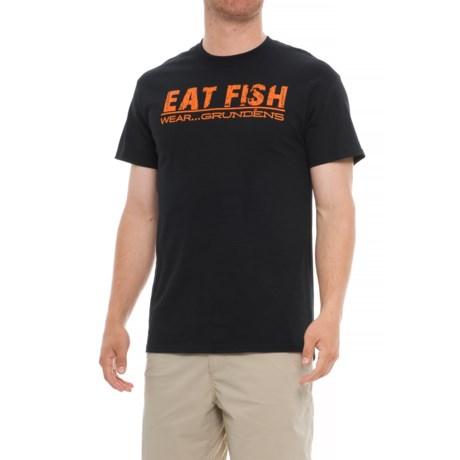 Grundens Eat Fish Wear  T-Shirt - Short Sleeve (For Men) in Orange