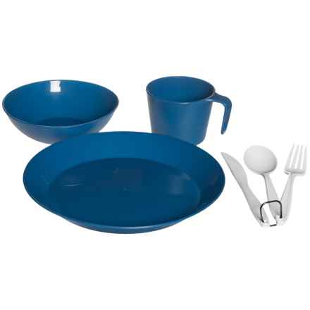 GSI Outdoors Cascadian Camping Table Set with Utensils - Single Place Setting, BPA-Free in Blue - Closeouts