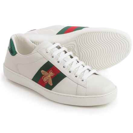 Gucci Ace Embroidered Sneakers - Leather (For Men) in White/Red/Green - Closeouts