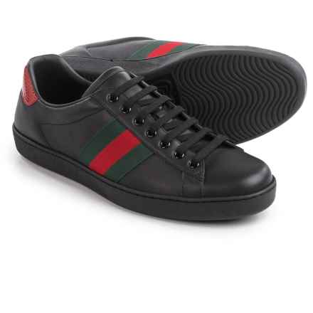 Gucci Ace Low-Top Sneakers - Leather (For Men) in Black/Red/Green - Closeouts