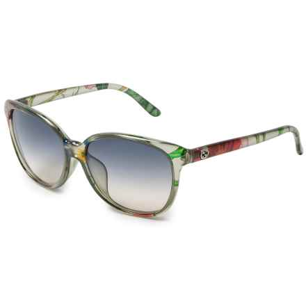Gucci Floral Print Cat's Eye Sunglasses (For Women) in Black/Green Floral - Overstock