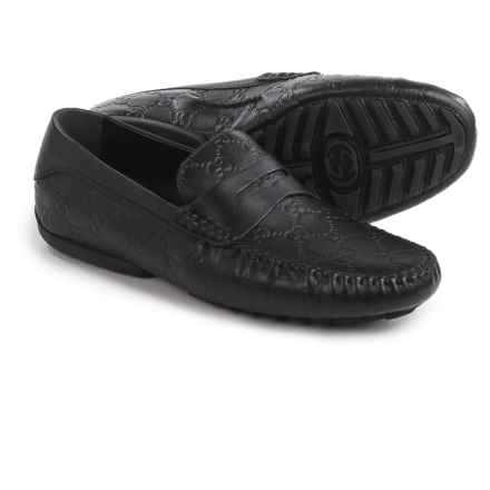 Gucci Guccissima Driver Shoes - Leather (For Men) in Black - Closeouts