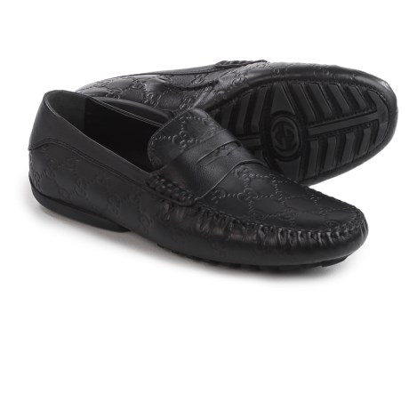 Gucci Guccissima Driver Shoes - Leather (For Men) in Black