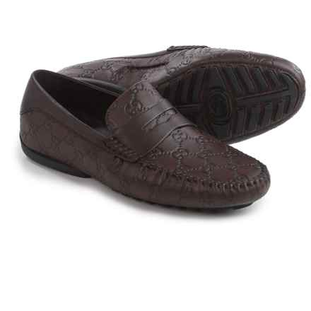 Gucci Guccissima Driver Shoes - Leather (For Men) in Chocolate - Closeouts