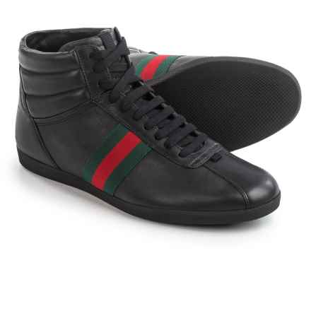 Gucci Leather High-Top Sneakers (For Men) in Black/Red/Green - Closeouts