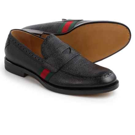 Gucci Leather Web Loafers (For Men) in Black/Red/Green - Closeouts