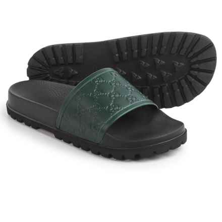 Gucci Signature Slide Sandals - Leather (For Men) in Black/Green - Closeouts