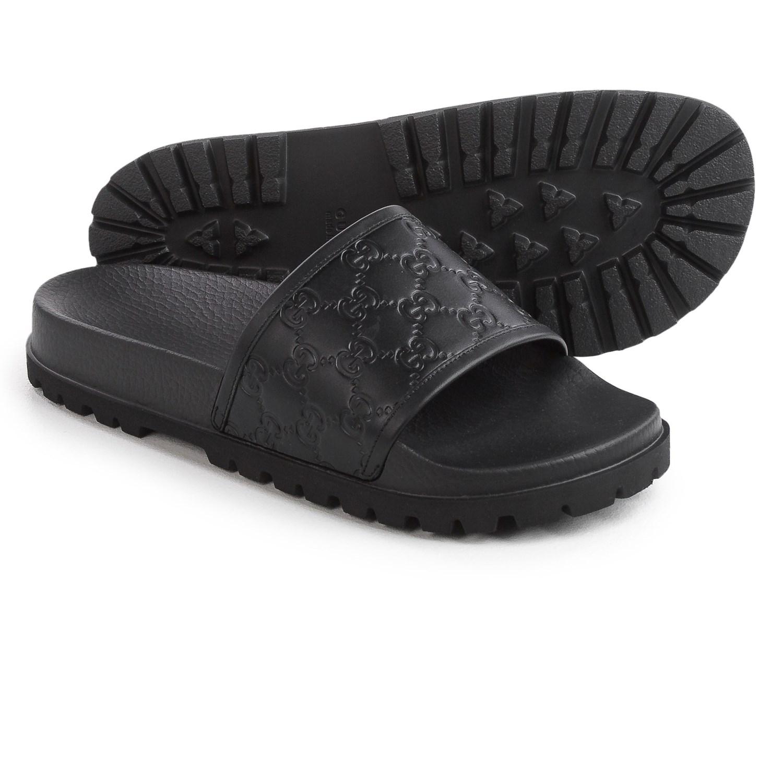 Black gucci sandals - Gucci Signature Slide Sandals Leather For Men In Black