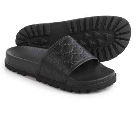 Gucci Signature Slide Sandals - Leather (For Men) in Black - Closeouts