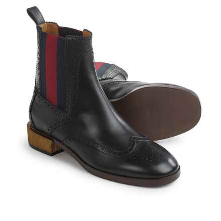 Gucci Web Ankle Boots - Leather (For Women) in Black - Closeouts