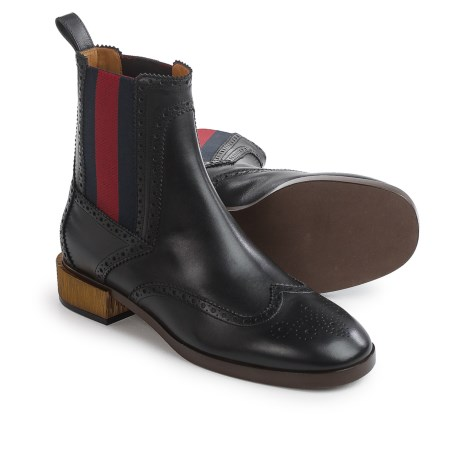 Gucci Web Ankle Boots - Leather (For Women) in Black