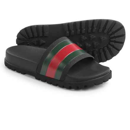 Gucci Web Slide Sandals (For Men) in Black/Red/Green - Closeouts