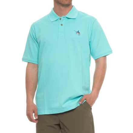 Guy Harvey Aftcool Micro Pique Polo Shirt - Short Sleeve (For Men) in Aqua - Closeouts