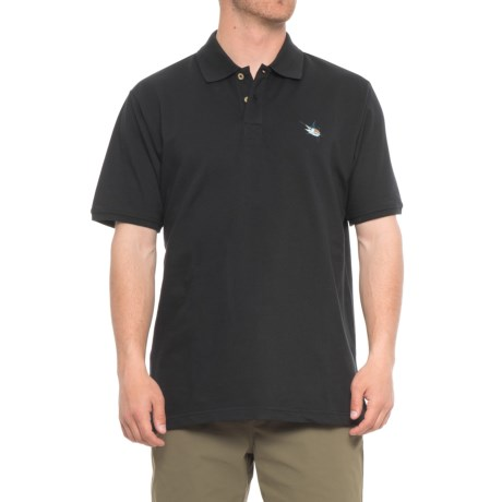 Guy Harvey Aftcool Micro Pique Polo Shirt - Short Sleeve (For Men) in Black