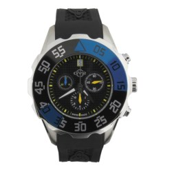 GV2 by Gevril Parachute Chronograph Watch - Rubber Strap in Black/Blue/Black