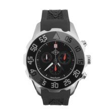 GV2 by Gevril Parachute Chronograph Watch - Rubber Strap in Black/Silver/Black - Closeouts