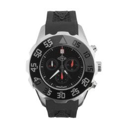 GV2 by Gevril Parachute Chronograph Watch - Rubber Strap in Black/Orange/Black