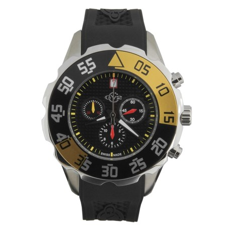 GV2 by Gevril Parachute Chronograph Watch - Rubber Strap in Black/Silver/Black