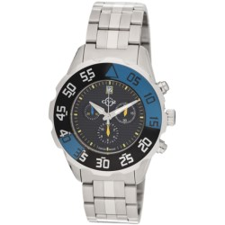 GV2 by Gevril Parachute Chronograph Watch - Stainless Steel Bracelet in Black/Blue/Stainless Steel
