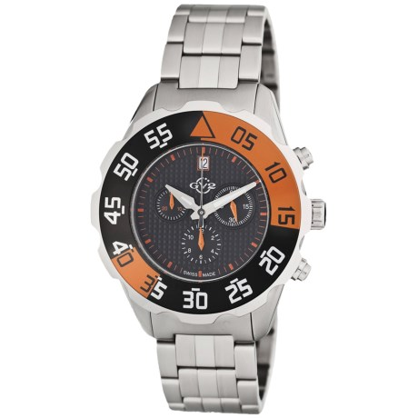 GV2 by Gevril Parachute Chronograph Watch - Stainless Steel Bracelet in Black/Orange/Stainless Steel