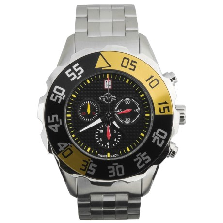 GV2 by Gevril Parachute Chronograph Watch - Stainless Steel Bracelet in Black/Yellow/Stainless Steel