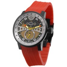 GV2 by Gevril Powerball Big Date Sport Watch - PVD Coated, Rubber Strap in Multi-Color/Red - Closeouts