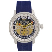 GV2 by Gevril Powerball Big Date Sub-Second Watch - Rubber Strap in Multi-Color/Blue - Closeouts