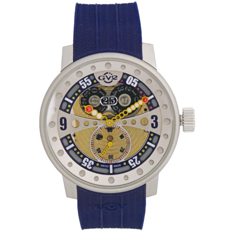 GV2 by Gevril Powerball Big Date Sub-Second Watch - Rubber Strap in Multi-Color/Blue