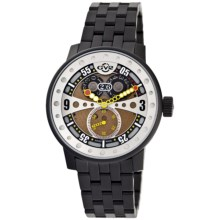 GV2 by Gevril Powerball Big Date Watch - Black Steel in Gold/Black - Closeouts