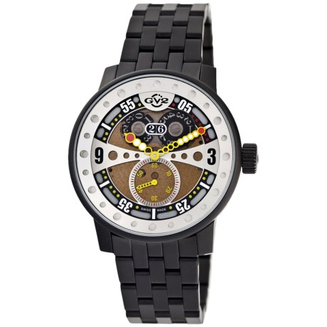 GV2 by Gevril Powerball Big Date Watch - Black Steel in Gold/Black
