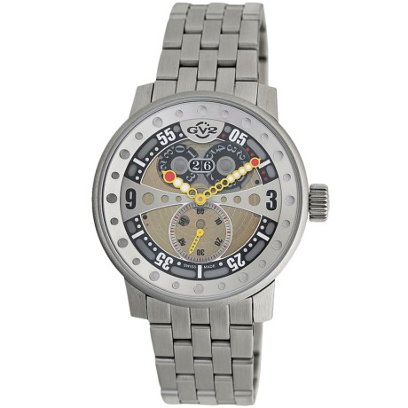 GV2 by Gevril Powerball Big Date Watch - Stainless Steel Bracelet in Gold/Stainless Steel