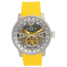 GV2 by Gevril Powerball Watch - Rubber Strap in Multi-Color Yellow - Closeouts