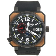 GV2 by Gevril XO Submarine PVD Watch - Rose Gold, Rubber Strap in Black/Rose Gold/Black - Closeouts