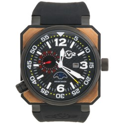 GV2 by Gevril XO Submarine PVD Watch - Rose Gold, Rubber Strap in Black/Rose Gold/Black