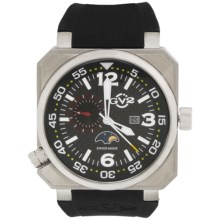 GV2 by Gevril XO Submarine Watch - Rubber Strap in Black/Silver/Black - Closeouts
