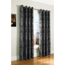 """Habitat Beaufort Faux-Silk Jacquard Curtains - 100x95"""", Grommet-Top in Pewter/Charcoal - Closeouts"""
