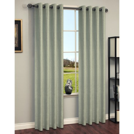 "Habitat Chambray Curtains - 104x84"", Grommet-Top in Green"