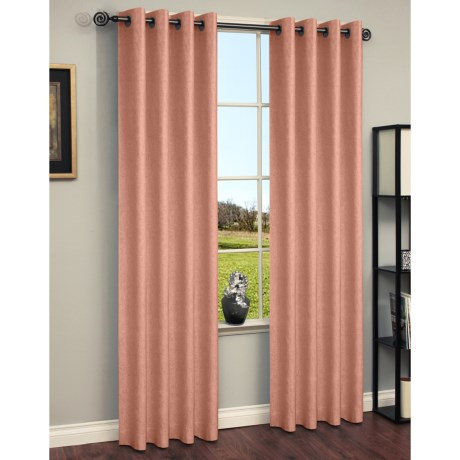 "Habitat Chambray Curtains - 104x84"", Grommet-Top in Tan"